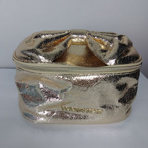 Victoria's Secret Gold Foil Bow Cosmetic Bag Case